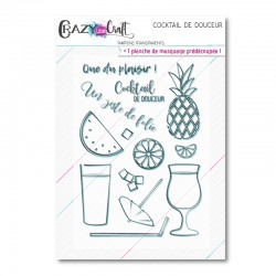Cocktail de douceur - Planche de tampons transparents photopolymères pour scrapbooking - Crazy Little Craft