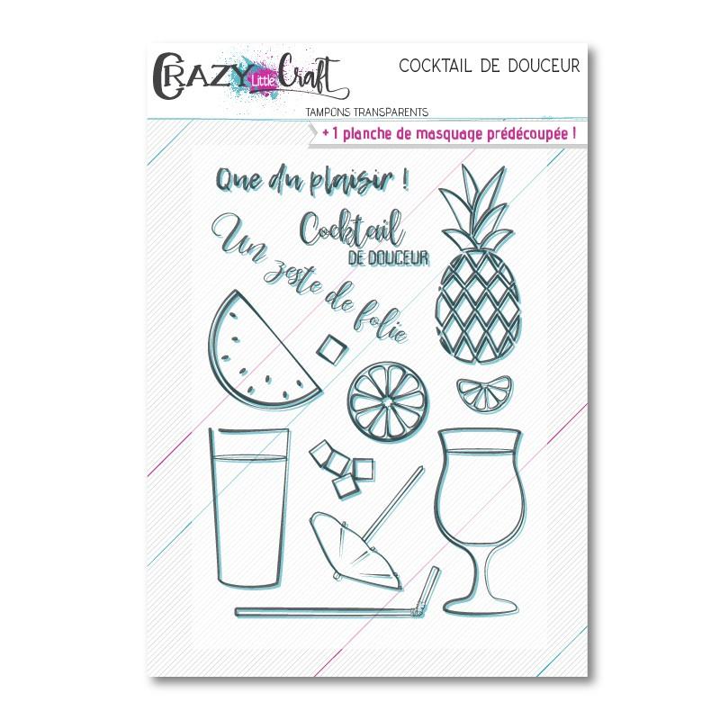 Cocktail de douceur - Planche de tampons transparents photopolymères pour scrapbooking - Crazy Little Craft