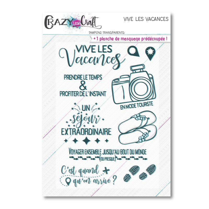 Vive les vacances - Planche de tampons transparents photopolymères pour scrapbooking - Crazy Little Craft