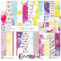 "Collection ""Été fruité"" - papiers scrapbooking, format  30 x 30 - Crazy Little Craft"