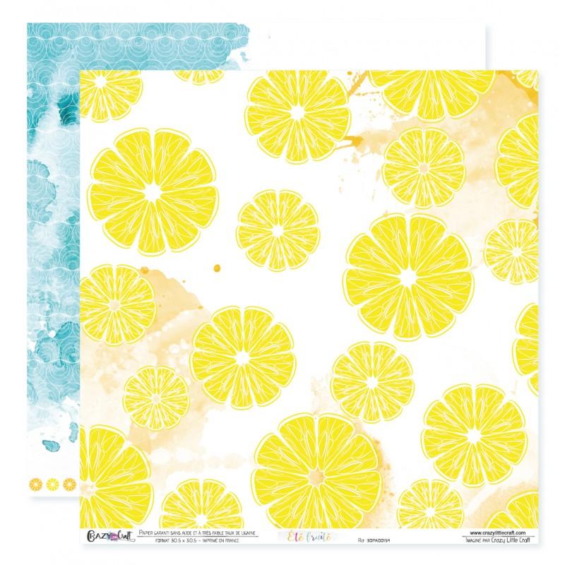 """Papier n°4 de la collection """"Été fruité"""" - Papier scrapbooking 30 x 30"""