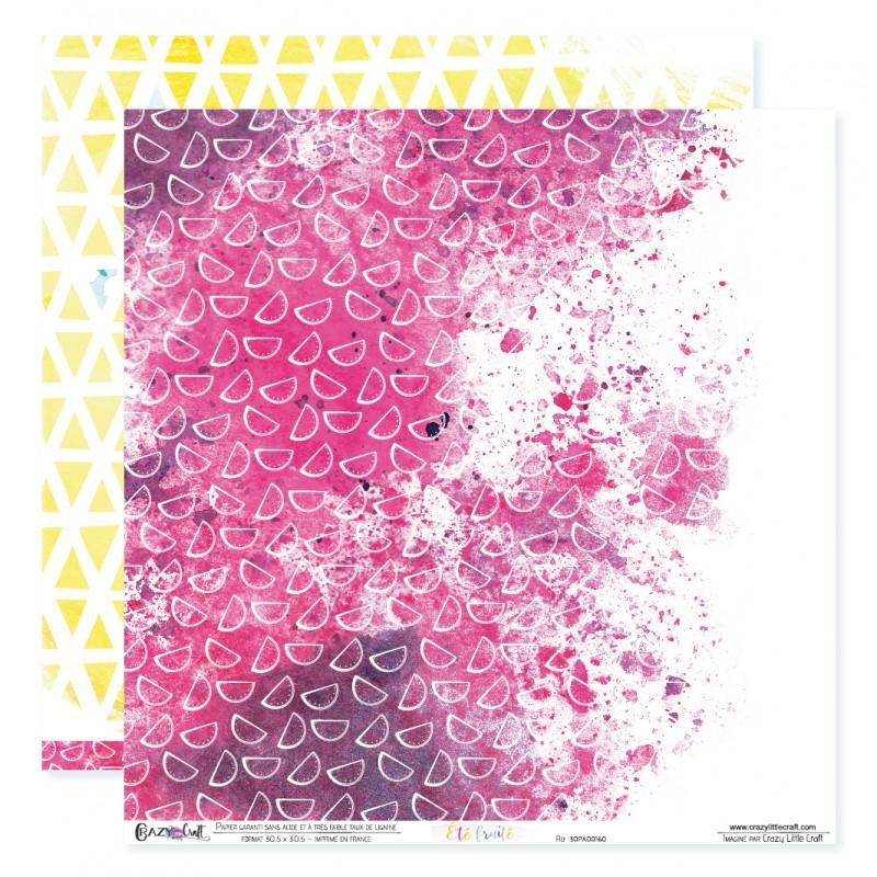 """Papier n°10 de la collection """"Été fruité"""" - Papier scrapbooking 30 x 30"""