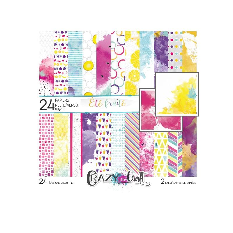 """Collection """"Été fruité"""" - papiers scrapbooking, format 15 x 15 - Crazy Little Craft"""