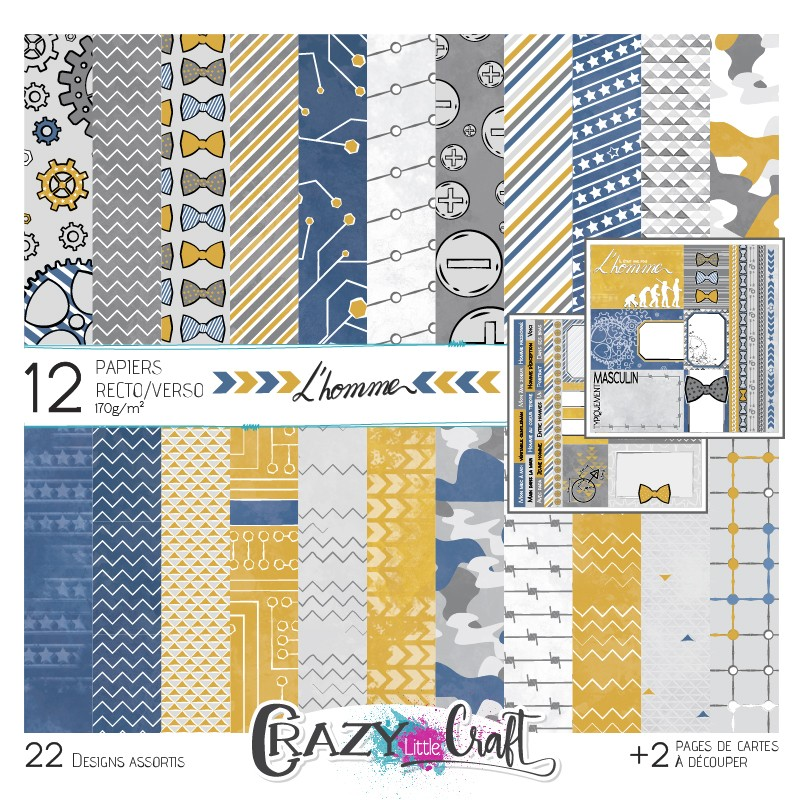 """Collection """"L'homme"""" papiers recto/verso  Crazy Little Craft"""