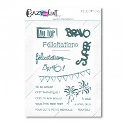 Félicitations - Planche de tampons transparents photopolymères pour scrapbooking - Crazy Little Craft