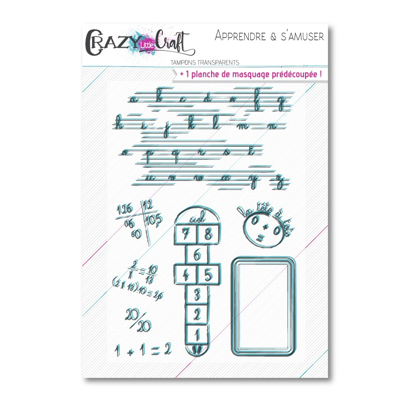 Apprendre & s'amuser - Planche de tampons transparents photopolymères pour scrapbooking - Crazy Little Craft