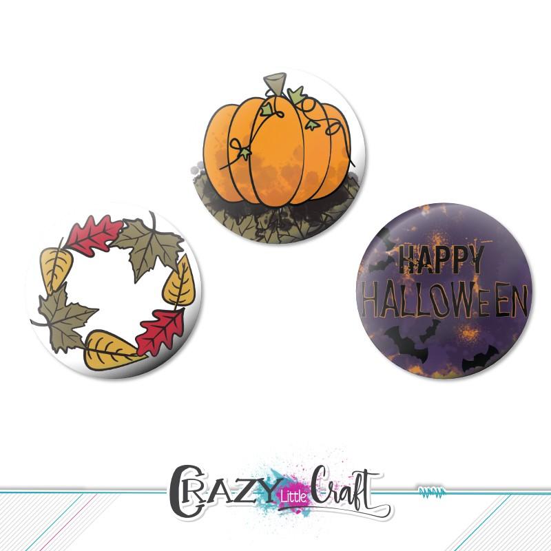 Lot de badges à fond plat sur le thème de l'automne