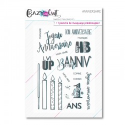 Anniversaire - Planche de tampons transparents photopolymères pour scrapbooking - Crazy Little Craft