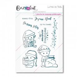 Lutins de Noël - Planche de tampons transparents photopolymères pour scrapbooking - Crazy Little Craft