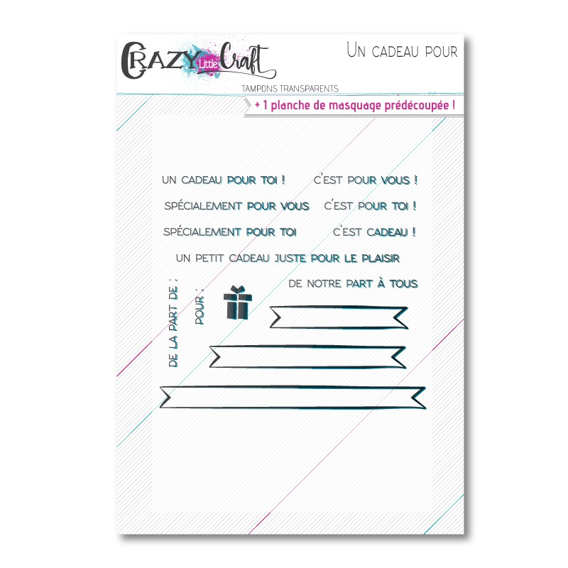 Un cadeau pour - Tampons transparents photopolymère pour scrapbooking - Crazy Little Craft