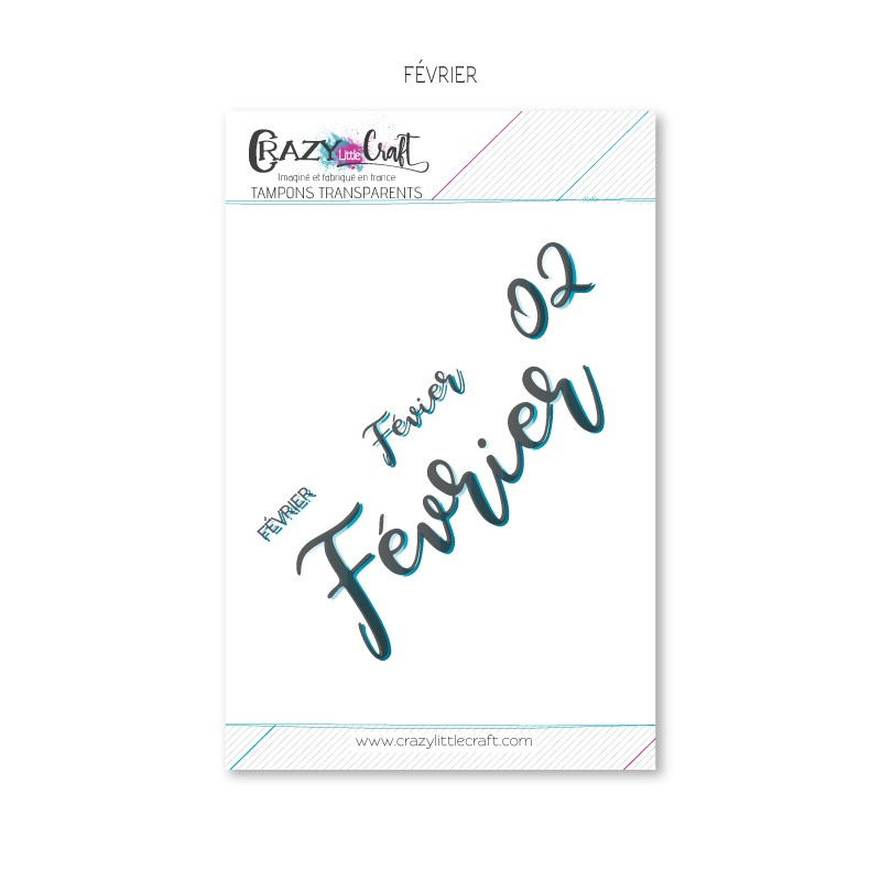 Février - Planche de tampons transparents photopolymère pour scrapbooking - Crazy Little Craft
