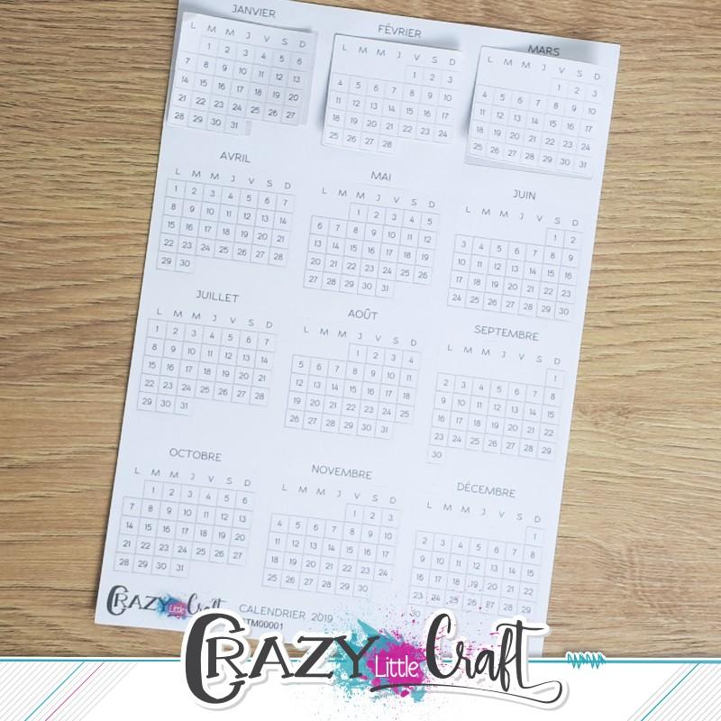 Calendrier 2019 - Stickers en papier - Crazy Little Craft