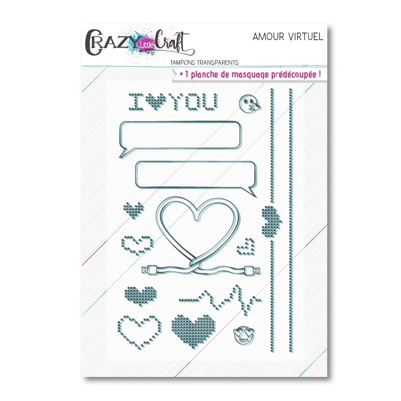 Amour Virtuel - Planche de tampons transparents photopolymère - Crazy Little Craft