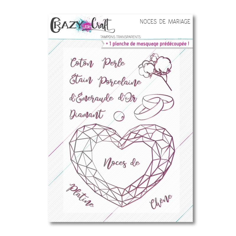 Noces de mariage - Planche de tampons transparents photopolymère pour scrapbooking - Crazy Little Craft