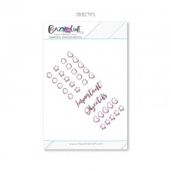Objectifs - Planche de tampons transparents photopolymère pour scrapbooking - Crazy Little Craft
