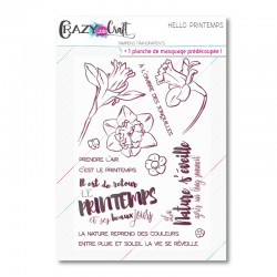 Hello printemps - Planche de tampons transparents photopolymère pour scrapbooking - Crazy Little Craft