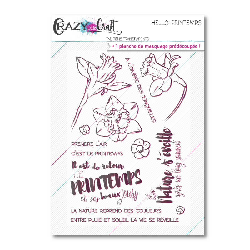 Hello printemps - Planche de tampons transparents photopolymère pour scrapbooking - Crazy Little Craft
