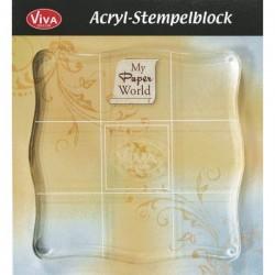 Bloc acrylique pour tampons transparents, 10 x 10 cm - ViVa