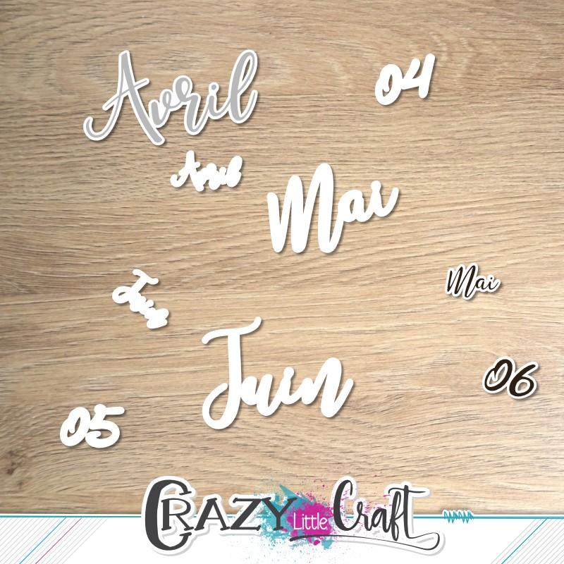 Formes à découper pour machine numérique avec les tampons mensuels Avril, Mai et Juin.