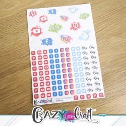 Planche de stickers papier sur le thème des réseaux sociaux