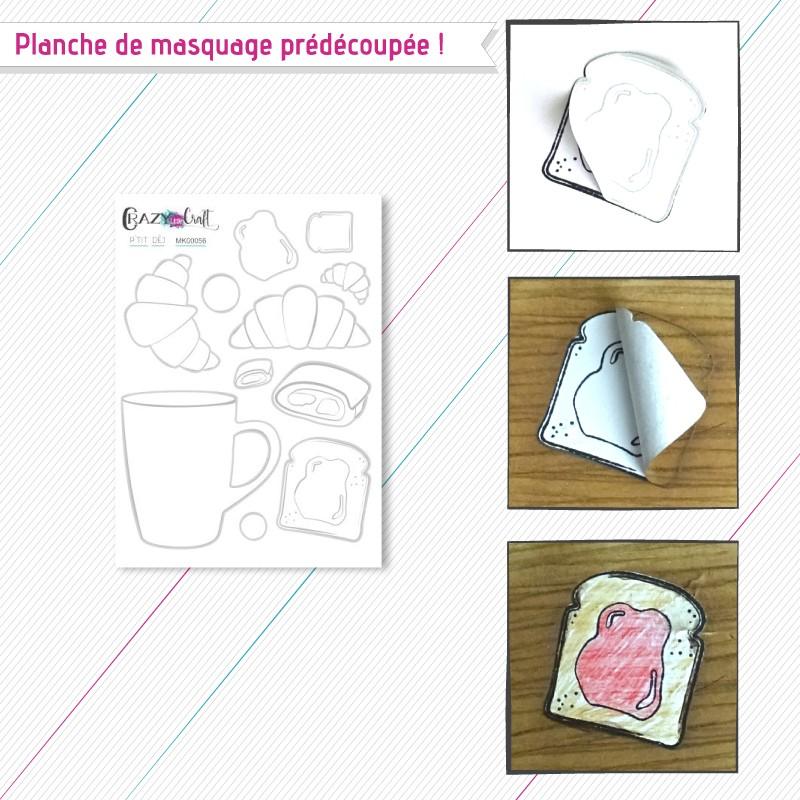 """Motifs de masquage correspondant à la planche de tampons """"P'tit déj"""""""