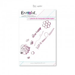 Bee happy - Planche de tampons transparents photopolymère pour scrapbooking - Crazy Little Craft