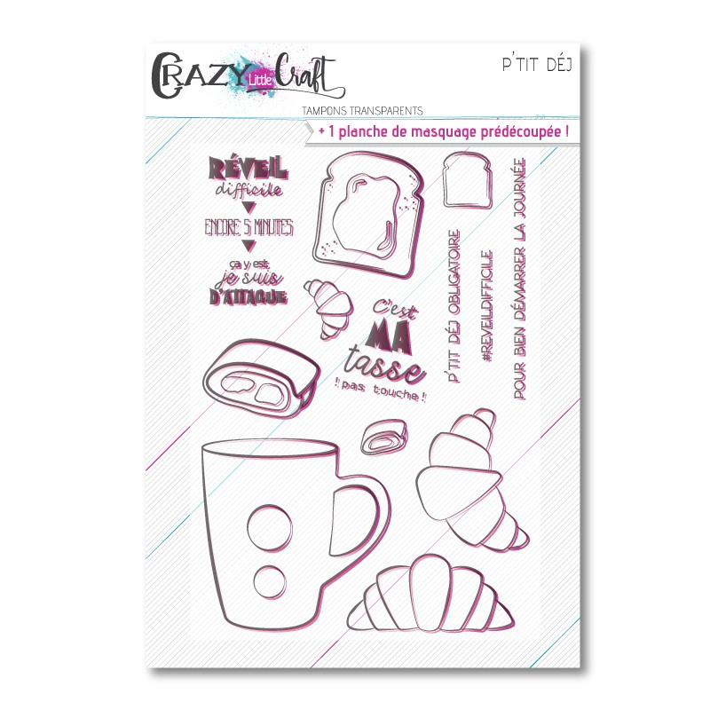 P'tit déj - Planche de tampons transparents photopolymère pour scrapbooking - Crazy Little Craft