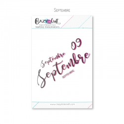 Septembre - Planche de tampons transparents photopolymère pour scrapbooking - Crazy Little Craft