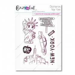 Destination : New York - Planche de tampons transparents photopolymère pour scrapbooking - Crazy Little Craft