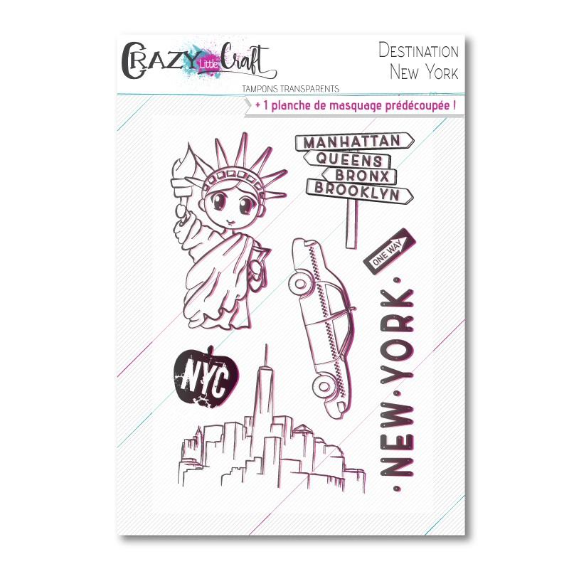 Destination : New York - Planche de tampons transparents photopolymère pour scrapbooking - Crazy Little Craft