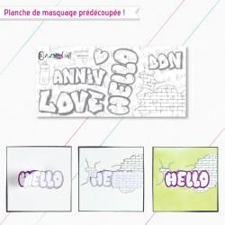 """Motifs de masquage correspondant à la planche de tampons """"graffitis"""""""