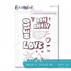 Graffitis - Planche de tampons transparents photopolymère pour scrapbooking - Crazy Little Craft