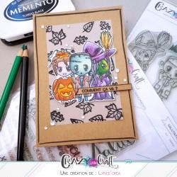 Carte sur le thème d'halloween, réalisée par Lyncé Créa