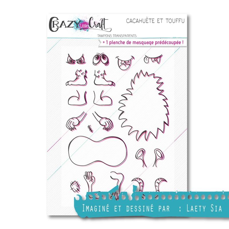 Cacahuète et Touffu - Planche de tampons transparents photopolymère pour scrapbooking - Crazy Little Craft