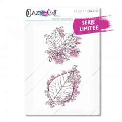 Feuilles GraphiK - Duo de tampons transparents photopolymère pour scrapbooking - Crazy Little Craft
