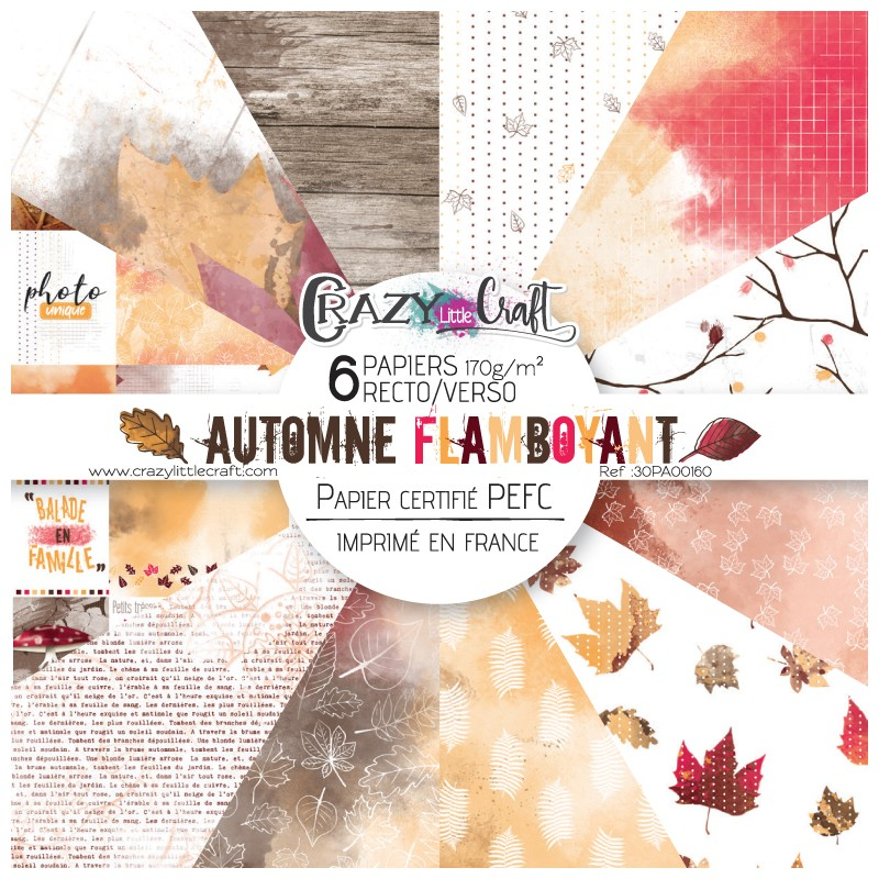 "Collection ""Automne flamboyant"" - papiers scrapbooking, format  30 x 30 - Crazy Little Craft"